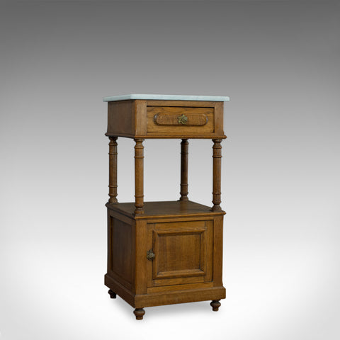 Antique Bedside Cabinet, French, Oak, Marble, Lamp, Nightstand, Circa 1930 - London Fine Antiques
