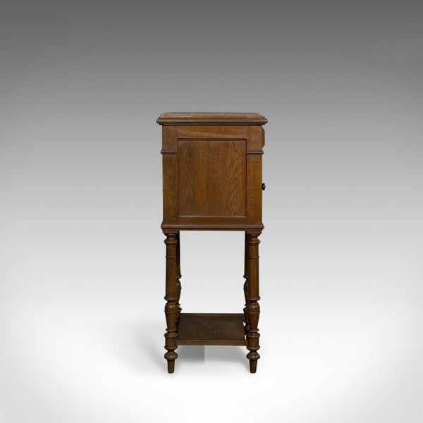 Antique Bedside Cabinet, French, Oak, Marble, Lamp, Side, Circa 1950 - London Fine Antiques