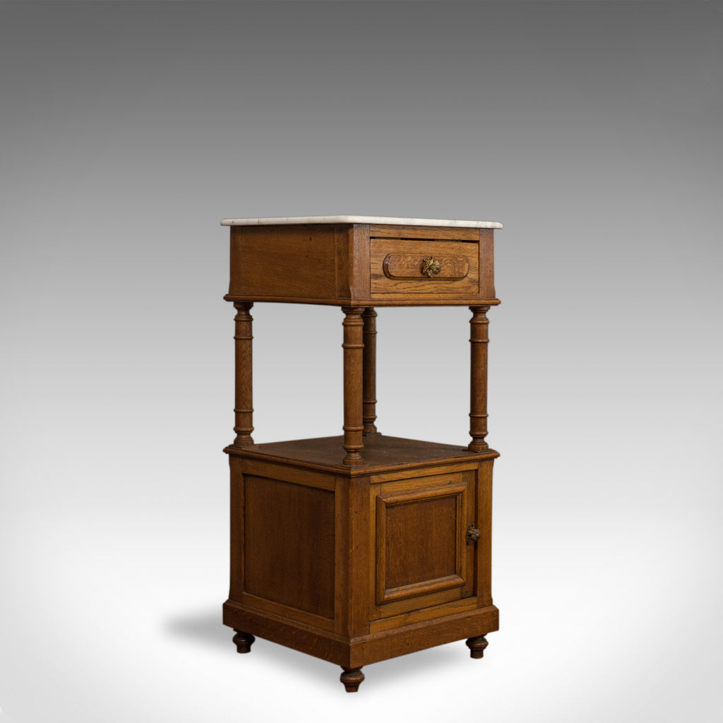 Antique Bedside Cabinet, French, Oak, Marble, Nightstand, Circa 1930 - London Fine Antiques