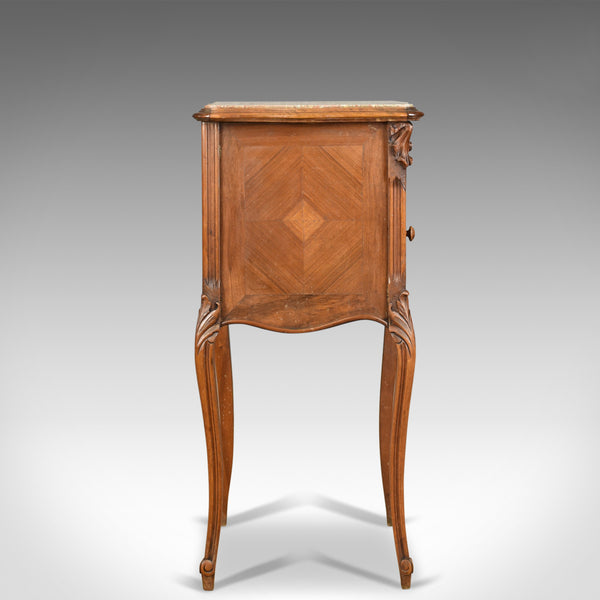 Antique Bedside Cabinet, French Walnut Marble Top Pot Cupboard Circa 1890 - London Fine Antiques