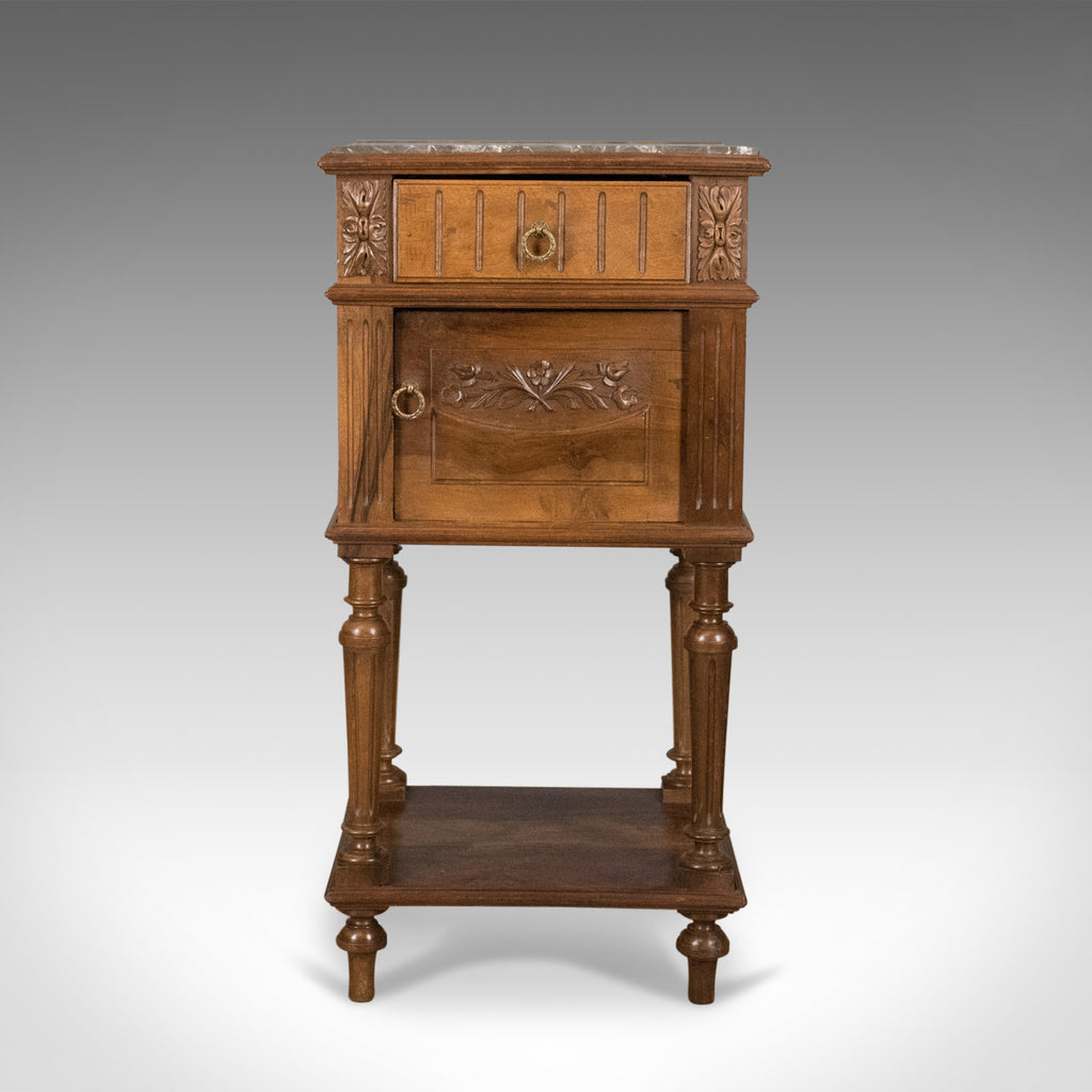Picture of: Antique Bedside Cabinet Victorian Marble Top Pot Cupboard Walnut Cir London Fine Antiques