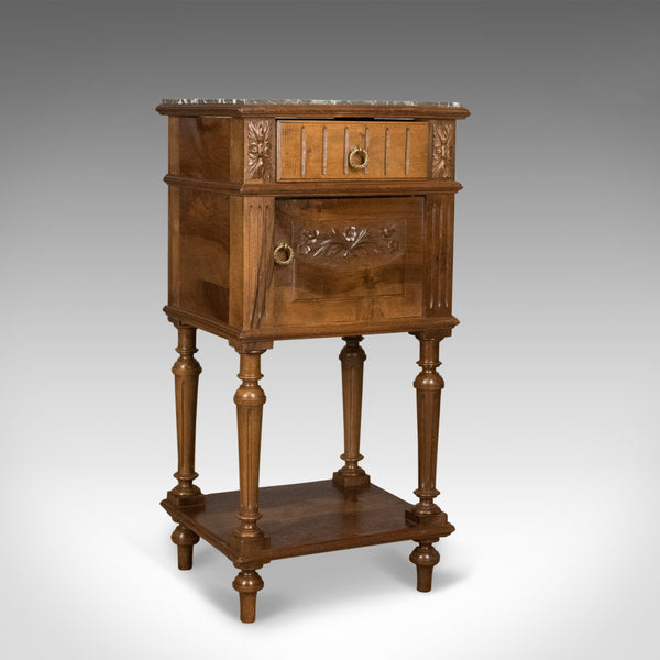 Antique Bedside Cabinet, Victorian Marble Top Pot Cupboard, Walnut Circa 1900 - London Fine Antiques