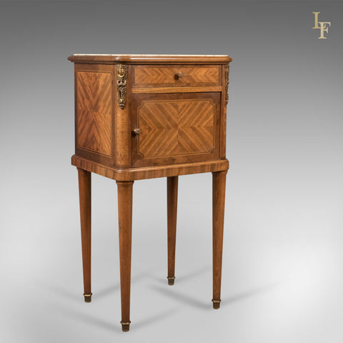 Antique Bedside Cabinet, French Marble Topped Nightstand - London Fine Antiques