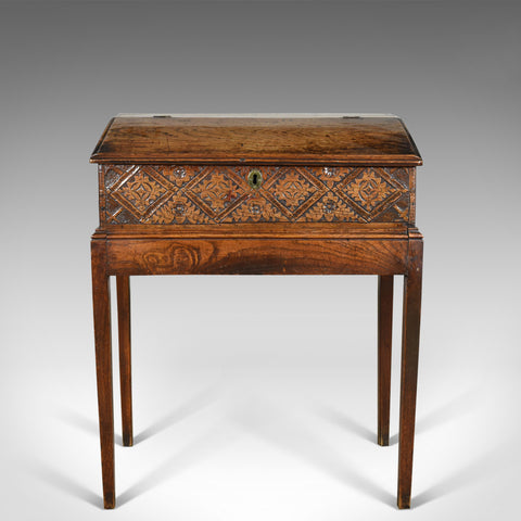 Antique Bible Box on Stand, English Oak Writing Slope 17th Century And Later - London Fine Antiques