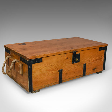 Antique Boat Builders Chest, English, Victorian, Pitch Pine, Trunk, Circa 1900 - London Fine Antiques
