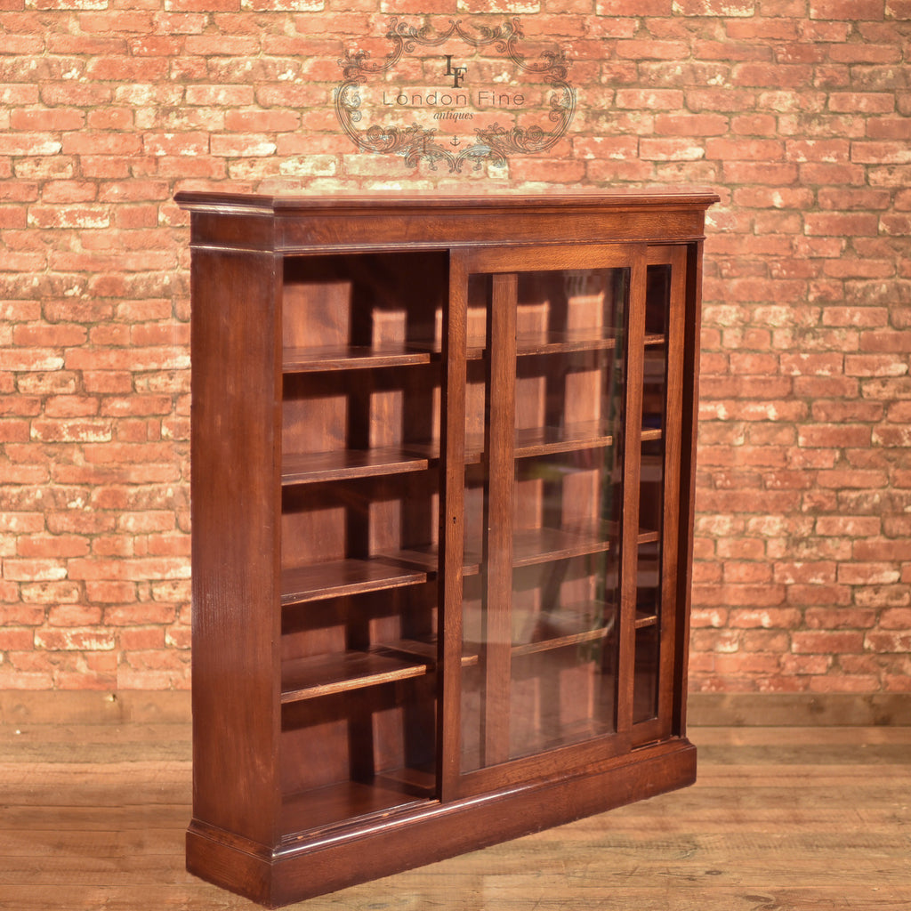 Edwardian Sliding Glazed Door Bookcase, c.1910 - London Fine Antiques
