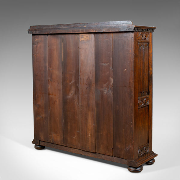 Antique Bookcase Cabinet, Oak, Gothic Overtones, Robertson and Coleman, c.1880 - London Fine Antiques