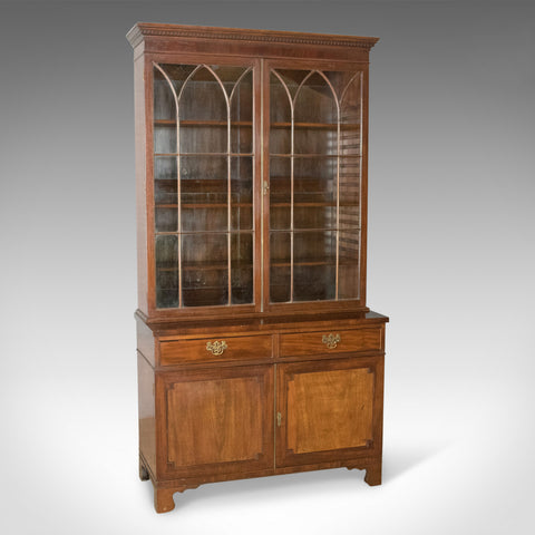 Antique Bookcase, Georgian Mahogany Display Cabinet Gothic Overtones Circa 1800