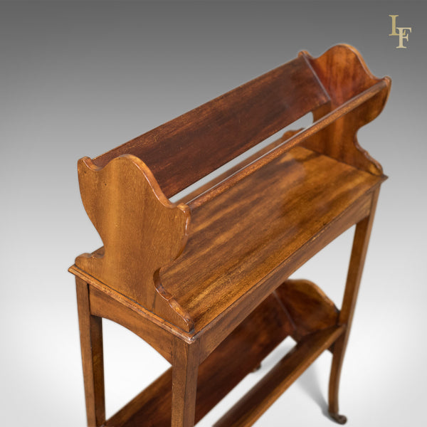 Antique Bookstand, English, Edwardian Mobile Book Shelf, Mahogany c.1910 - London Fine Antiques