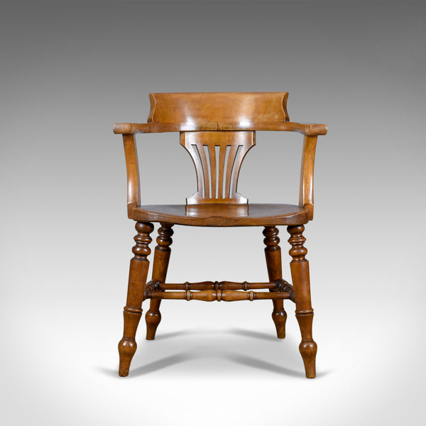 Antique Bow-Back Armchair, English, High Wycombe, Elm, Smokers, Captains c.1900 - London Fine Antiques