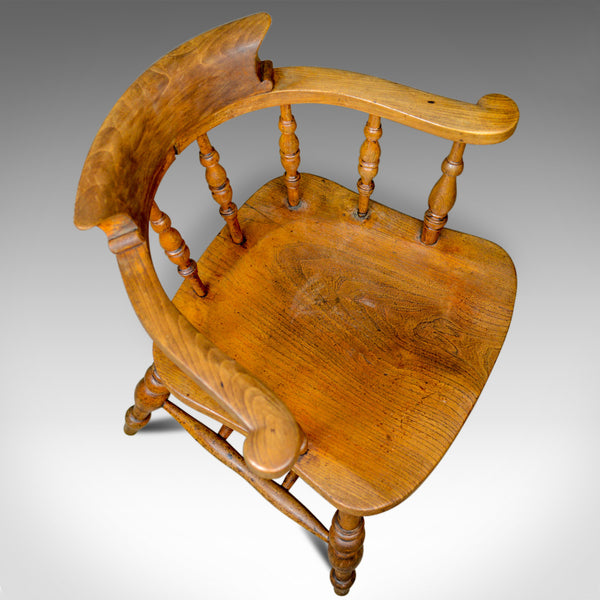 Antique Bow-Back Elbow Chair, English, Victorian, Smokers, Captains, Circa 1890 - London Fine Antiques