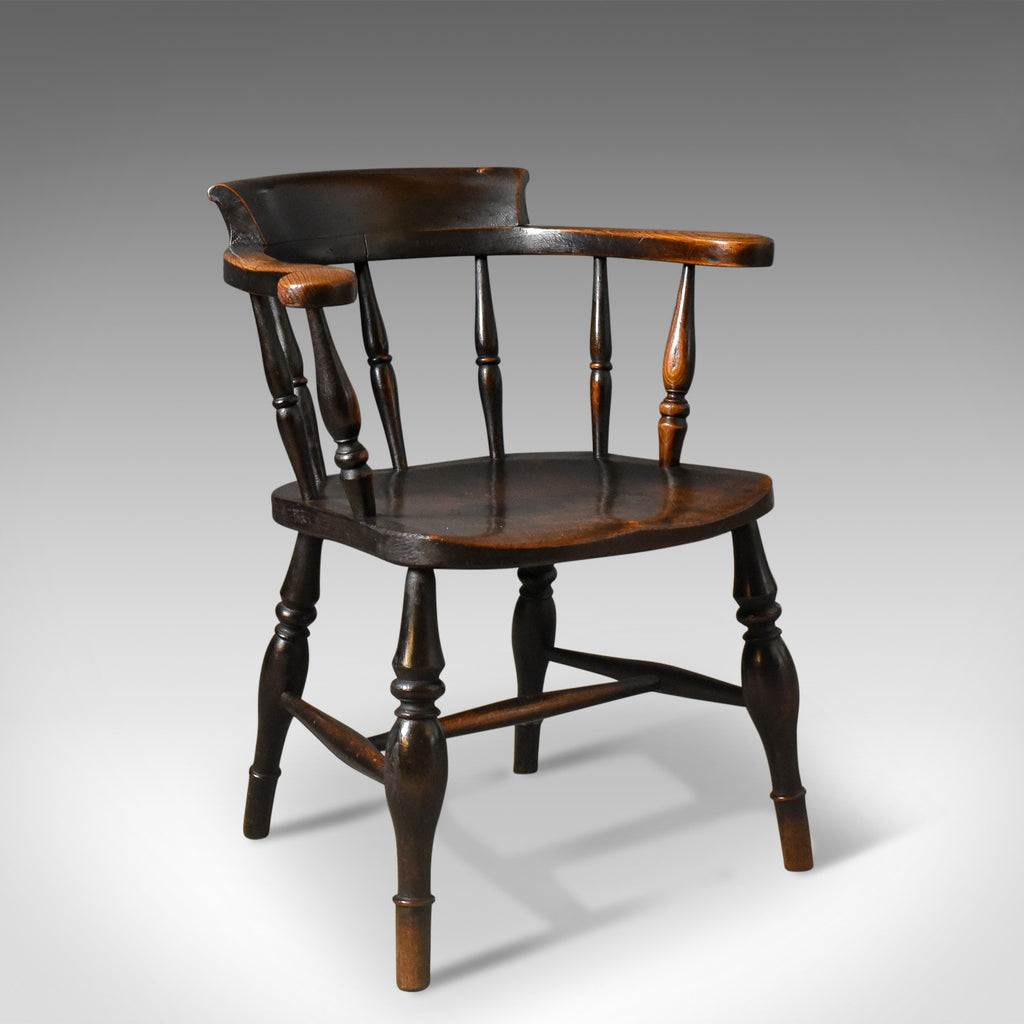 Antique Bow Back Chair, English Victorian Elm Windsor C.1870