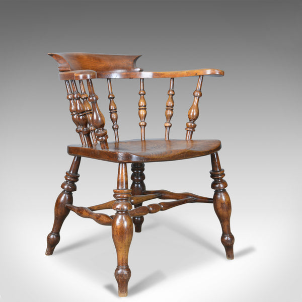Antique Bow Chair, Smokers, Captains, English, Victorian, Elm, Windsor c.1870 - London Fine Antiques