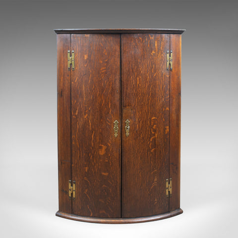 Antique Bow Fronted Corner Cabinet, English, Oak, Georgian, Hanging Circa 1770 - London Fine Antiques