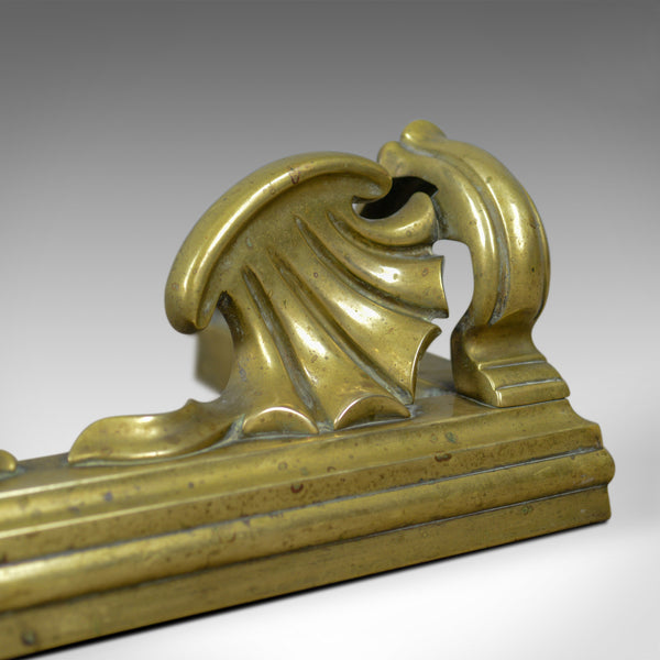 Antique Brass Fire Kerb, English, Victorian, Art Nouveau, Fireside Fender c.1900 - London Fine Antiques