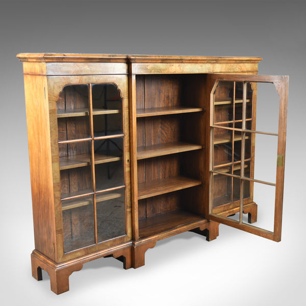 Antique Breakfront Bookcase, Victorian Burr Walnut Glazed Display Cabinet c1890 - London Fine Antiques
