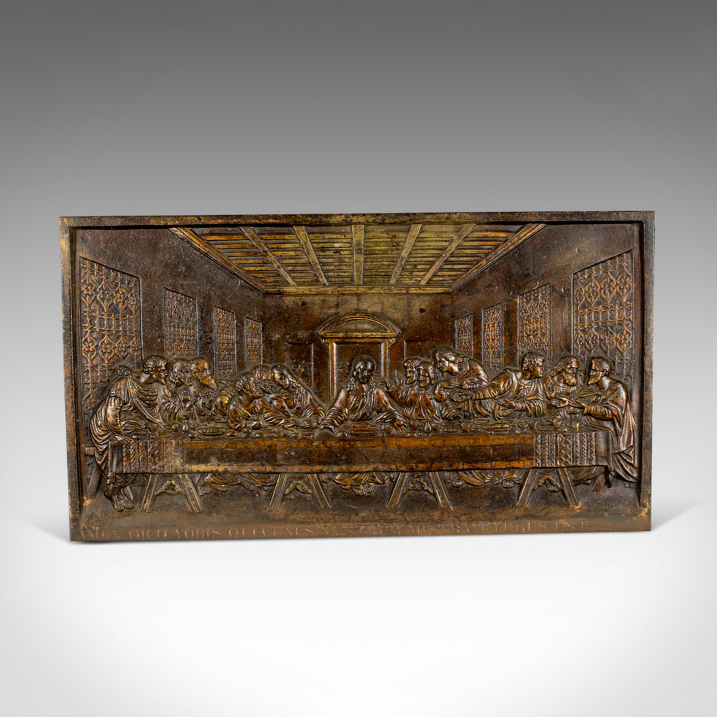 Antique Bronzed Iron Plaque, Da Vinci's The Last Supper, Fireback, Wall, c.1890 - London Fine Antiques