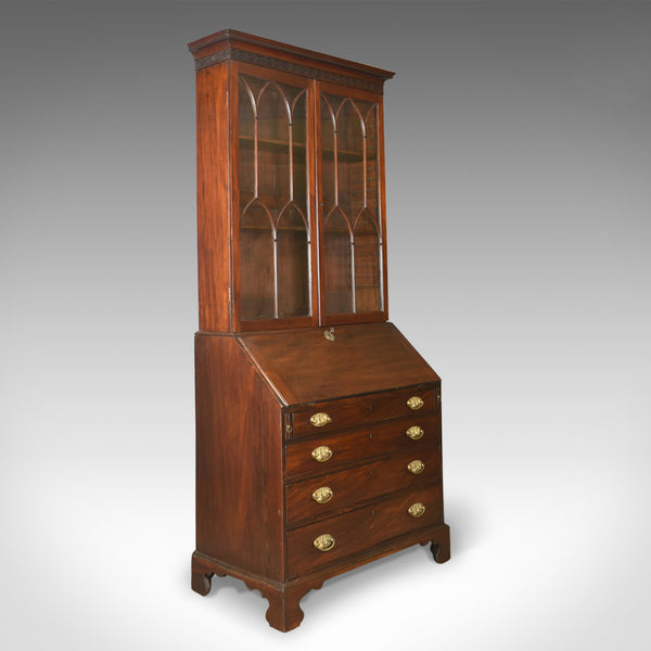 Antique Bureau Bookcase, English, Georgian Mahogany, Gothic Overtones Circa 1800 - London Fine Antiques