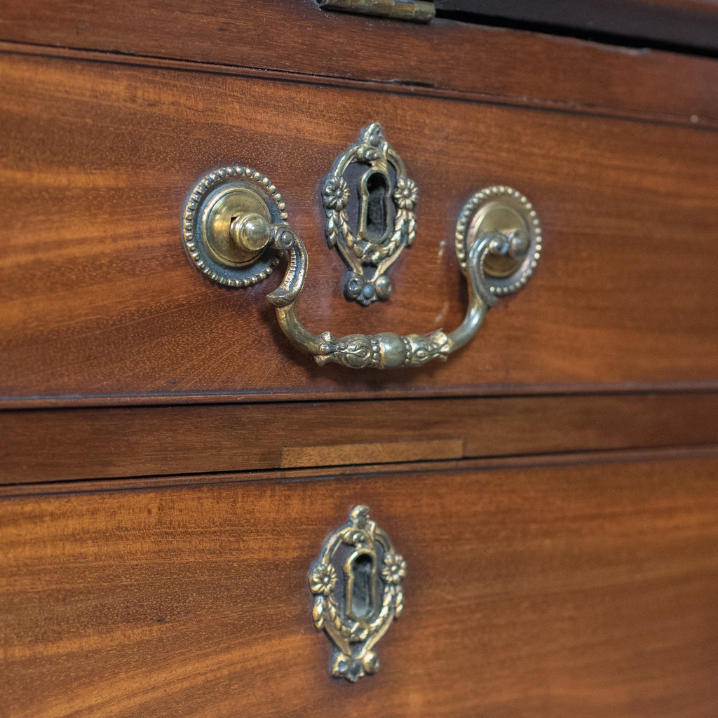 Antique bureau bookcase english late georgian mahogany for Antique bureau knobs