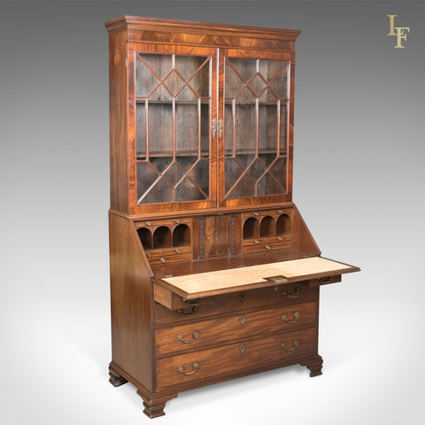 Antique Bureau Bookcase, English, Late Georgian, Mahogany, Writing Desk c.1800 - London Fine Antiques