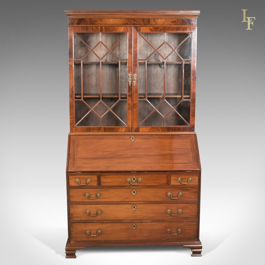 antique bureau bookcase english late georgian mahogany writing desk ebay. Black Bedroom Furniture Sets. Home Design Ideas