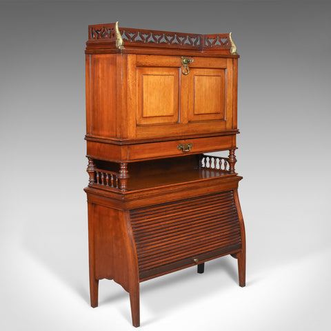 Antique Bureau Cabinet, English, Edwardian, Walnut Cupboard, Circa 1910 - London Fine Antiques