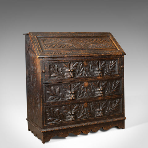 Antique Bureau, English, Oak, Victorian, Green Man, Writing Desk, Circa 1880 - London Fine Antiques
