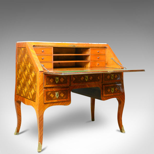 Antique Bureau, French, Marble Top, Kingwood, Marquetry Desk, Circa 1900 - London Fine Antiques