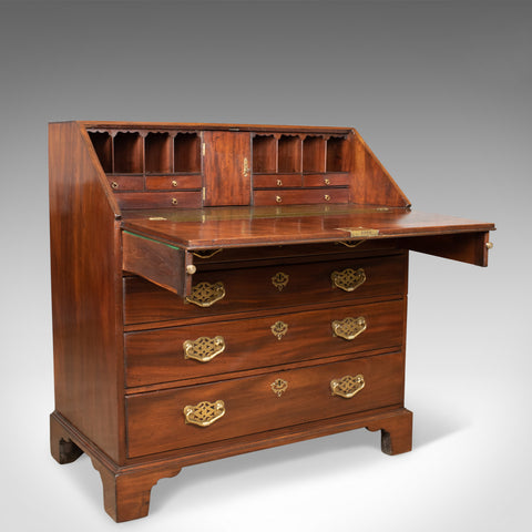 Antique Bureau, Mahogany, English, Georgian, Generous Desk Space, Circa 1800 - London Fine Antiques