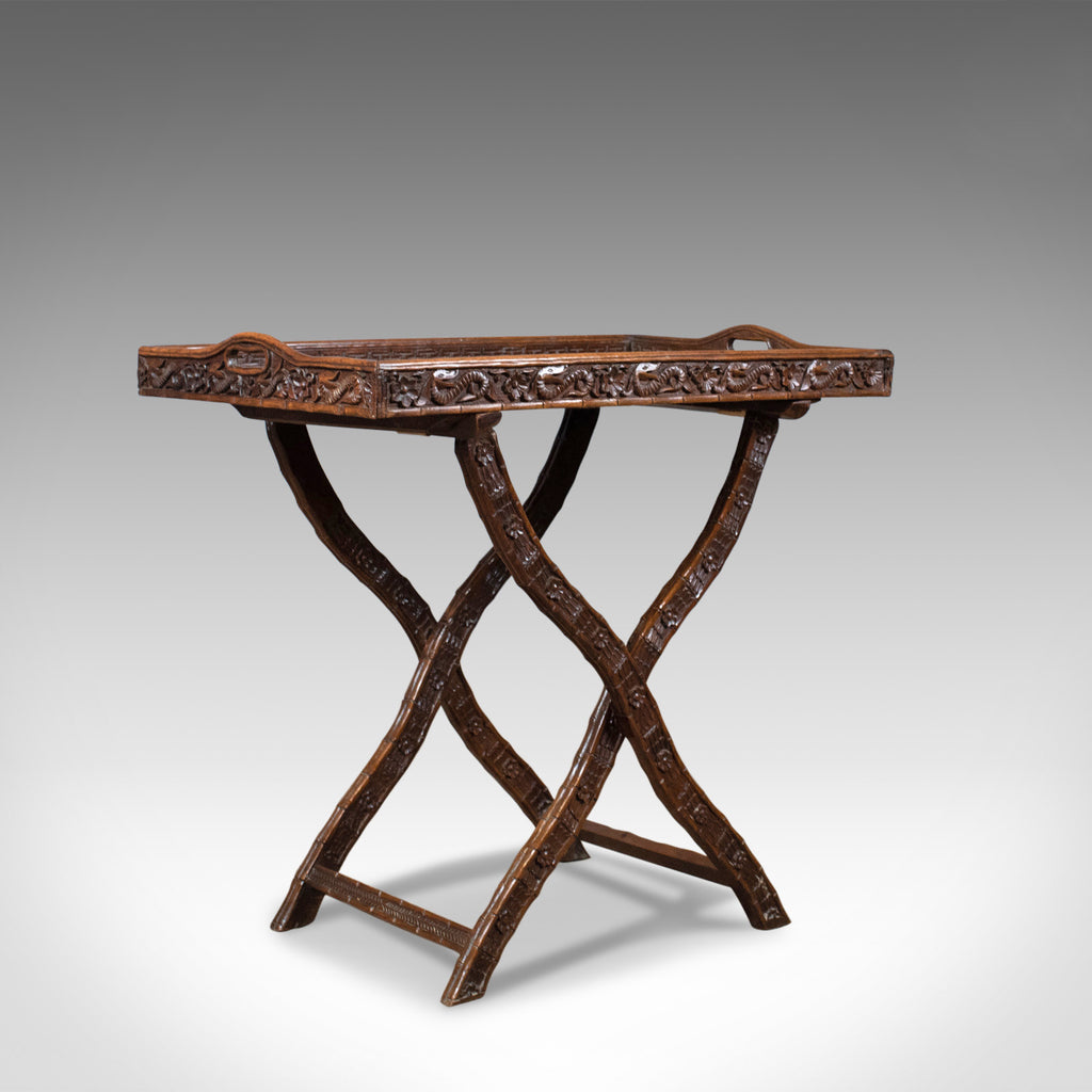 Antique Butler's Tray Table, Carved, Oriental Teak, Folding Stand, Circa 1900 - London Fine Antiques