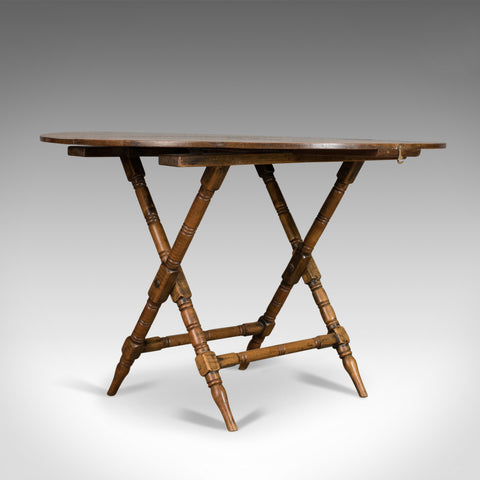 Antique Campaign Table, English, Victorian, Folding, Beech, Fruitwood Circa 1890
