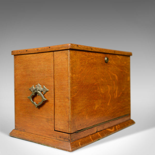 Antique Campaign Writing Box, English, Victorian, Oak, Stationery, 1887 - London Fine Antiques