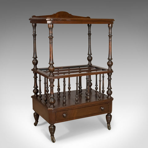 Antique Canterbury Side Table, Mahogany, English, Victorian, Circa 1880
