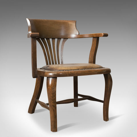 Antique Captain's Chair, English, Oak, Bow-Back, Leather, Smokers Circa 1910