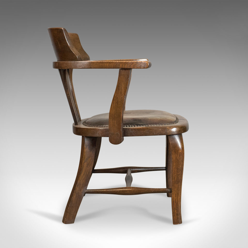 ... Antique Captainu0027s Chair, English, Oak, Bow Back, Leather, Smokers Circa  ...