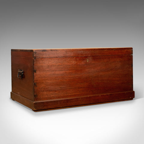 Antique Carriage Chest, English, Teak, Trunk, Late 19th Century, Circa 1890