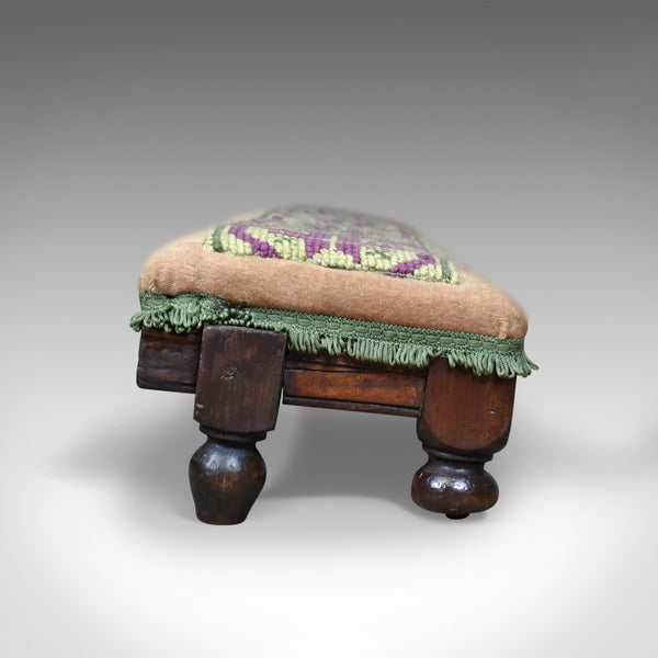 Antique, Carriage Stool, Long, Victorian, Footrest, Mahogany, Needlepoint c1870 - London Fine Antiques