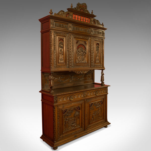 Antique Carved Breton Buffet Cabinet, French, Sideboard, Oak, Circa 1880 - London Fine Antiques