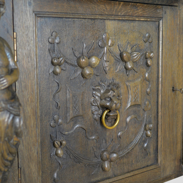Large Carved Oak Cabinet, English Sideboard, Jacobean Revival Cupboard, c.1940 - London Fine Antiques