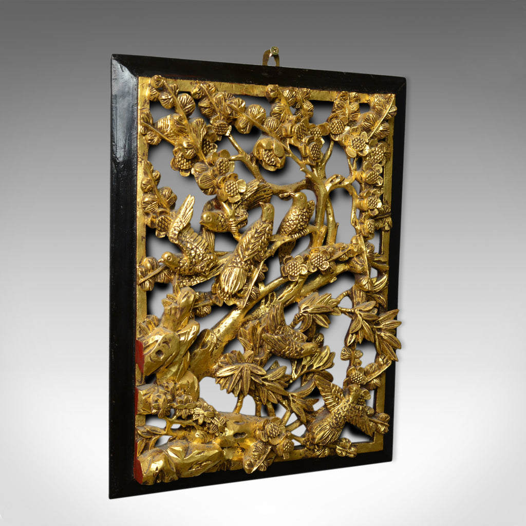 Antique Carved Wall Panel, Chinese, Giltwood, Decorative, Circa 1900 - London Fine Antiques