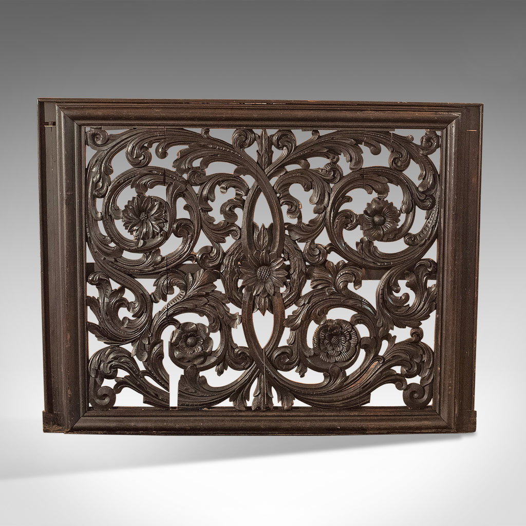 Antique Carved Wall Panel, Large, Victorian Decorative Carved, Oak Screen c.1880 - London Fine Antiques