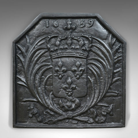 Antique Cast Iron Fire Back, Coat of Arms, Fireplace Revival Casting, Circa 1900 - London Fine Antiques