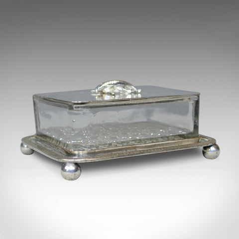 Antique Caviar Dish, English, Crystal Glass, Silver Plated, Thomas Prime, c.1880 - London Fine Antiques