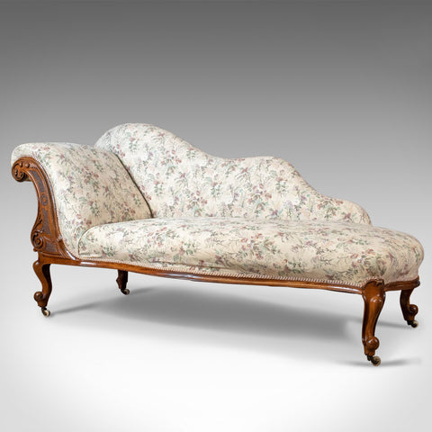 Antique Chaise Longue, English, Late Regency Day Bed, Walnut, Circa 1830 - London Fine Antiques
