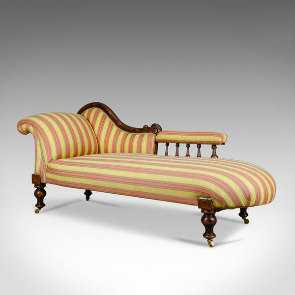 Antique Chaise Longue, English, Victorian, Scroll-End Day Bed, Mahogany c.1870 - London Fine Antiques
