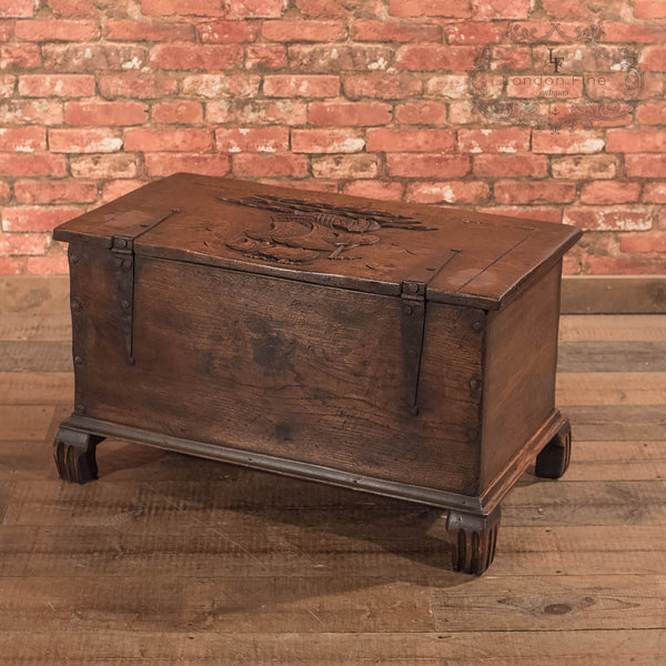Chests, Coffers & Trunks-Antique Chest, Early C20th Oak Trunk - 10