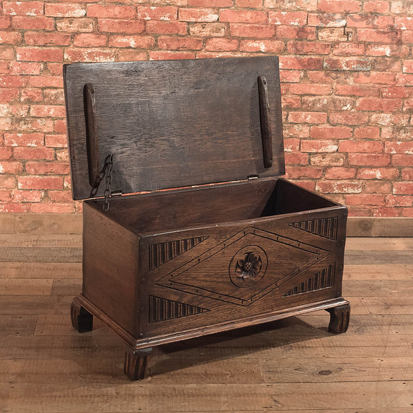 Chests, Coffers & Trunks-Antique Chest, Early C20th Oak Trunk - 2