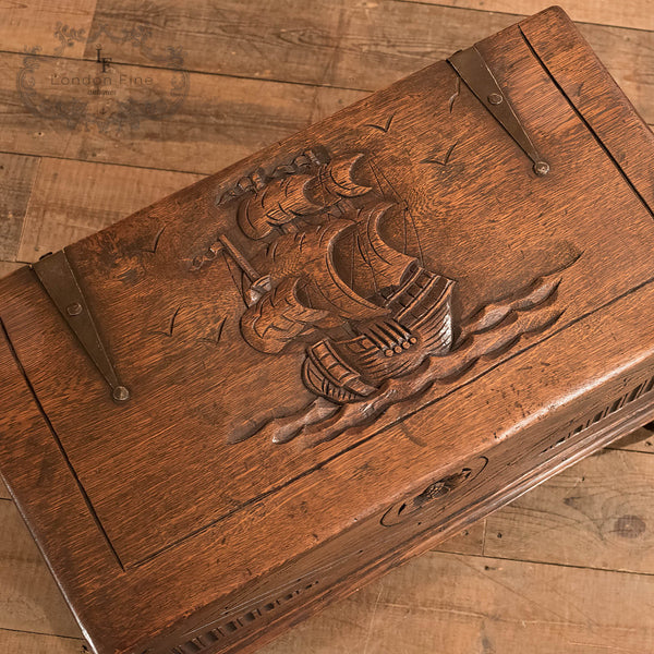 Antique Chest, Early C20th Oak Trunk - London Fine Antiques