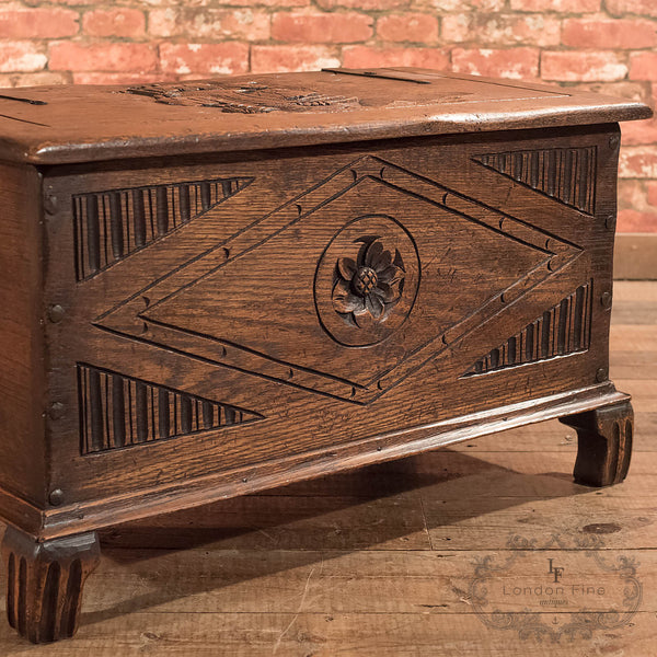 Chests, Coffers & Trunks-Antique Chest, Early C20th Oak Trunk - 5