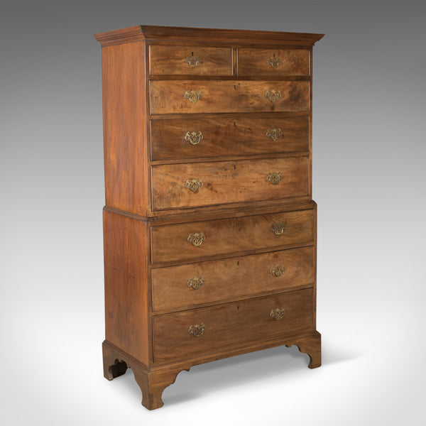 Antique, Chest On Chest of Drawers, English, Tall Boy, Mahogany, Circa 1780 - London Fine Antiques